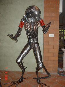 sci fi characters alien statue scrap metal