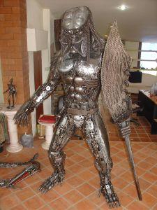predator statue scrap metal