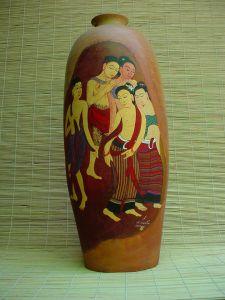 vase oriental hand painted motif