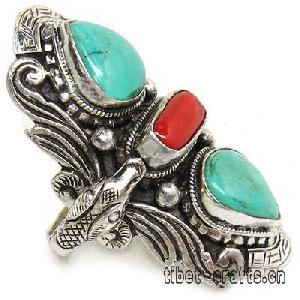 tibet finger coral turquoise ring 13