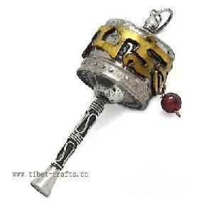 tibetan prayer wheel silver pendant