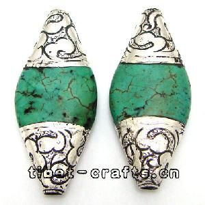 tibetan resin sterling silver bicone 2 beads