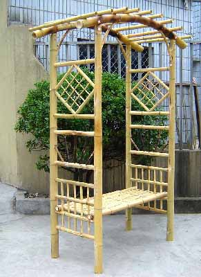 Bamboo Arbors Flower Supporter, Grape Supporter W / Seat And Trellis Side Panel