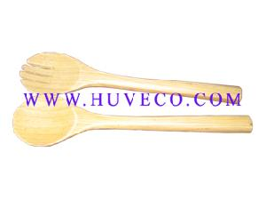 bamboo salad servers fork spoon