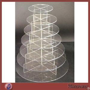 round circle 7 tier acrylic pastry cake display rack