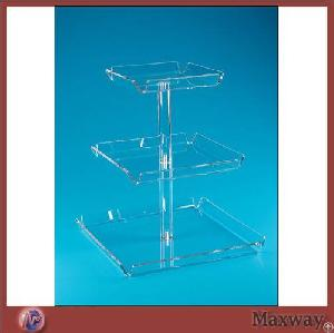 thickening square 3 tier transparent lucite bakery stand perspex pastry display
