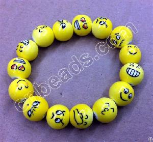 Round Ceramic Beads Handmade Facial Expression Bead 2012 Fashion Jewelry Accessories