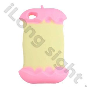 Iapplecore Series Soft Silicone Cases For Iphone 4s And Wire Oranizer-pink