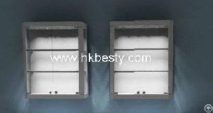 Led Lighting Wall Mounted Display Cabinets, Jewelry Display Wall Cabinet  With Glossy Wood Finish