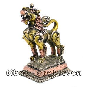 bronze tibet lion sculpture