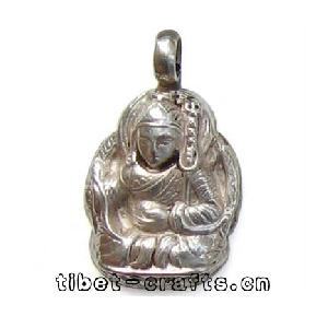sterling silver carved tibetan buddha pendant