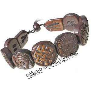 tibetan carved yak bone 8 auspicious symbols bracelet