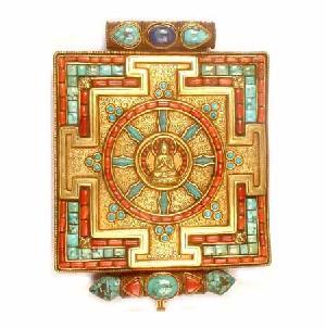 tibetan om gold plated pendant mani padme hum