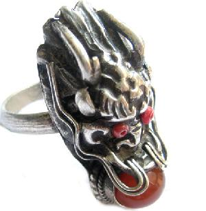 tibetan silver jewelry agate bead dragon head ring