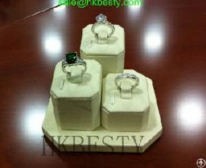 Fine White Fabric Jewelry Clip Ring Display Stand
