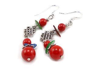 tibet silver handmade coral earrings