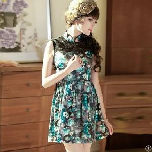 charming lace stand collar sleeveless cheongsam dress blue
