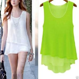 layer sleeveless misses blouses green orange