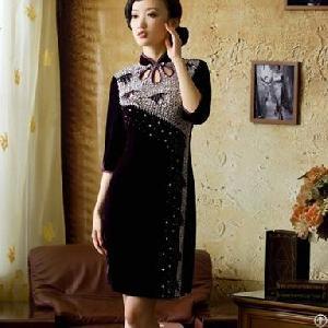 luxurious slim hollow charming cheongsam dress deep purple