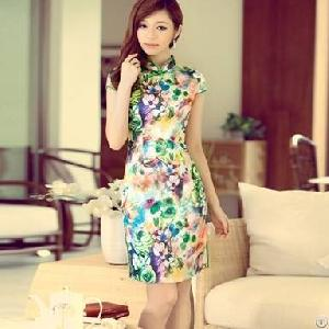slim retro flower short sleeve cheongsam dress