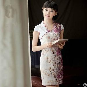 fashion newly flower slim cheongsam dresses blue