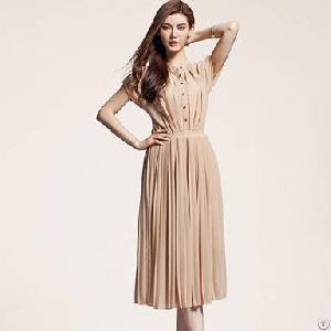 floor chiffon pleated khaki dress