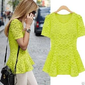lace decorate hollow short sleeve fitted blouse green beige