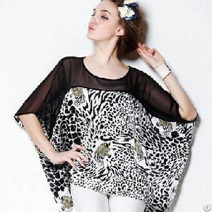 loose leopard silk blouse women