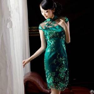 luxurious beads retro slim cheongsam dresses deep green