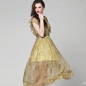 pattern bohemia grey silk dress