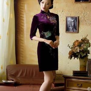 newly retro slim cheongsam dresses purple
