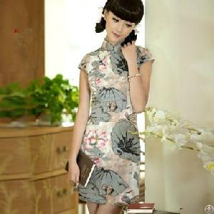retro lotus improved slim cheongsam dresses