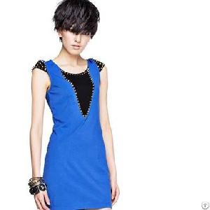 rivet decorate sleeveless dresses blue
