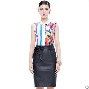 stand collar sleeveless blouse