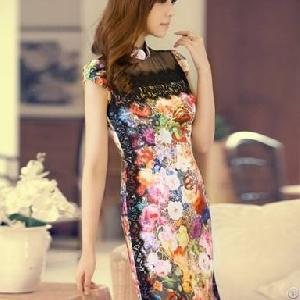 summer charming flower slim cheongsam dresses
