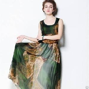 vintage waist lake blue green silk dress