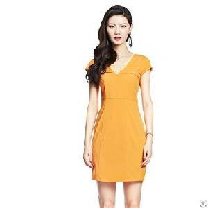 vogue v neck orange sheath dress