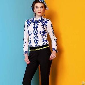 western lapel printed sleeved blouses
