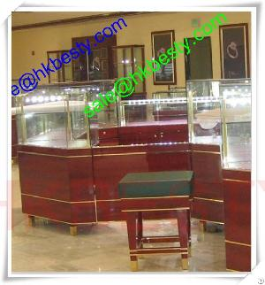 cherry wood luxury display showcase bright led lights