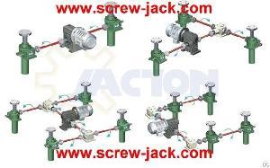 Multi-units Screw Jack System 900 Mm Stroke, 5 Ton Heavy Duty Hoist Lift Gates Bevel Gear System