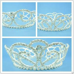 P9137, Tiara, Crown, Clear Crystal