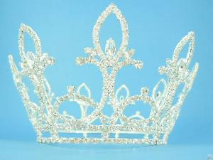 P9138, Tiara, Crown, Alloy, Clear Crystals