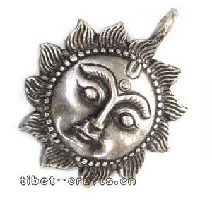 tibetan silver sun pendant