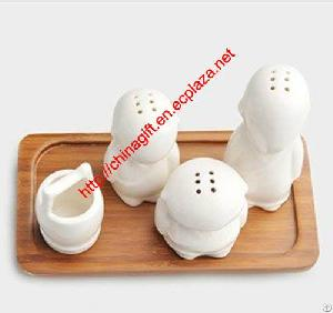 Three Little Monks Kitchen Cruet And Toothpick-holder