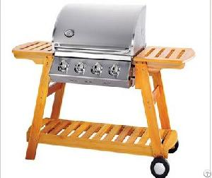 Four Main Burner Wooden Gas Grill Bbq