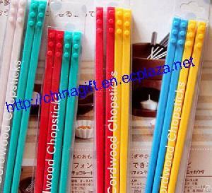 2-pair Set Cordwood Block Chopstick