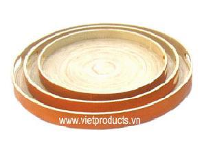 coild bamboo round tray 24321