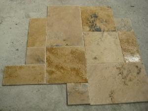 rustic afyongold travertine brushed chiseled versailles pattern