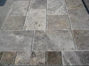 silver travertine brushed chiselled french pattern