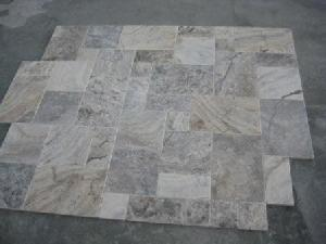 silver travertine honed filled